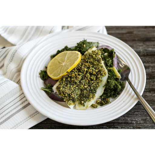Pistachio Crusted Cod with Roasted Kale and Red Onions