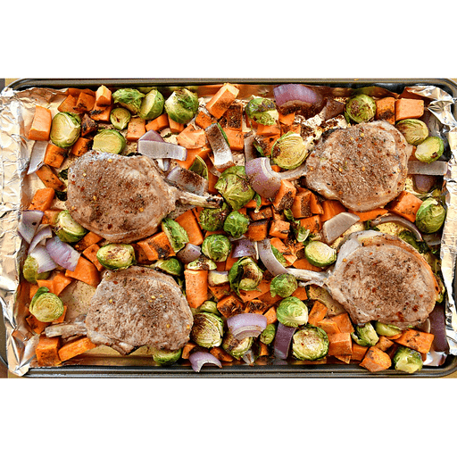 Pork Chop, Sweet Potato and Brussels Sprout Sheet Pan Meal