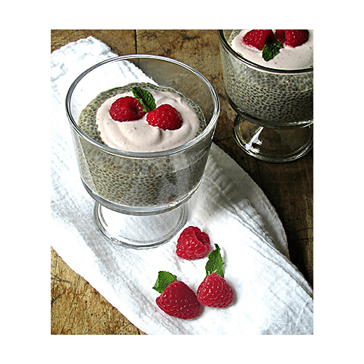 Vanilla Chia Seed Pudding with Raspberry-Cashew Cream