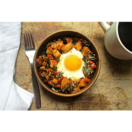 Yukon Gold Hash with Leeks, Greens and Eggs