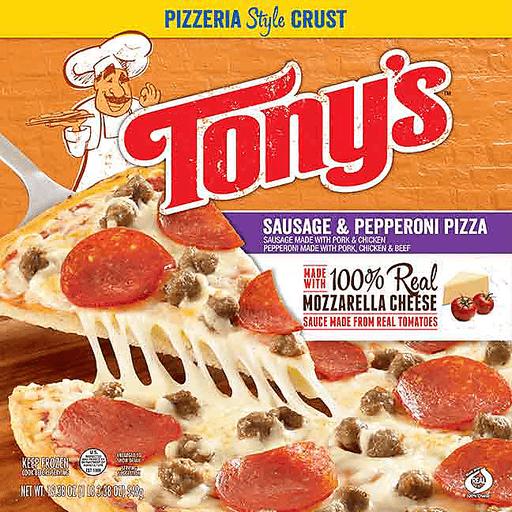 Tonys Pizza, Pizzeria Style Crust, Sausage & Pepperoni