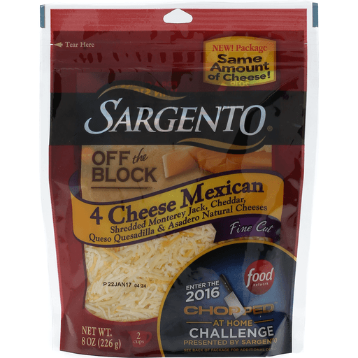 Sargento Off the Block Cheese, Shredded, Fine Cut, 4 Cheese Mexican.